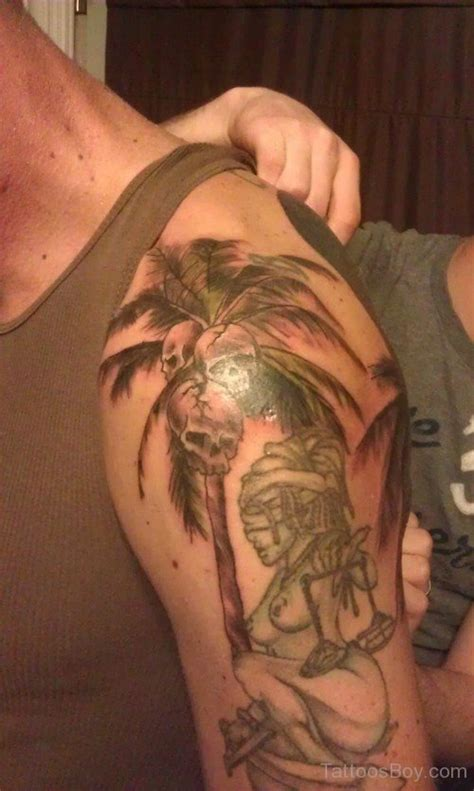 skull shoulder tattoo palm tree tattoos designs pictures page 2