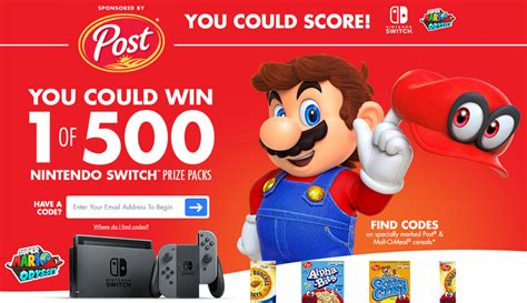 Post Sweepstakes Codes - post cereal s nintendo switch console instant win game 500 winners 3 31 18 3ppd18