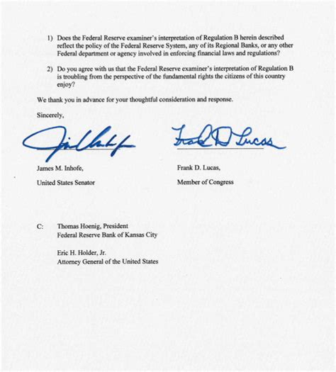 Demand Letter Precedent Ok Sen Inhofe Rep Lucas Demand Answers After Fed Bans From Bank Theblaze