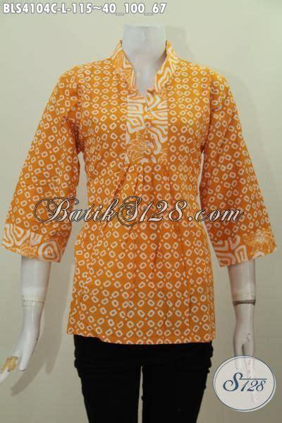 Batik Dress Kerah Kuning blus batik kuning lengan tiga perempat baju batik kerah