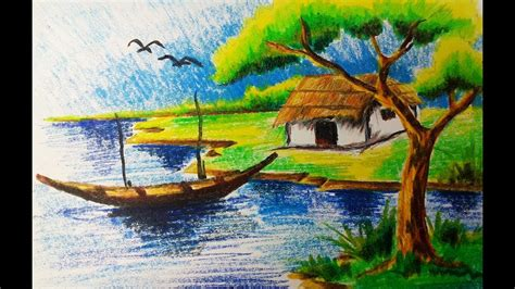 how to draw a boat with oil pastels oil pastel landscape drawings natural scenery painting oil