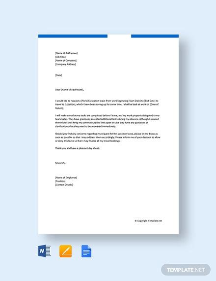 vacation leave letter company template word