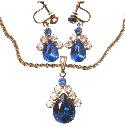 vintage sapphire blue drop rhinestone necklace earring