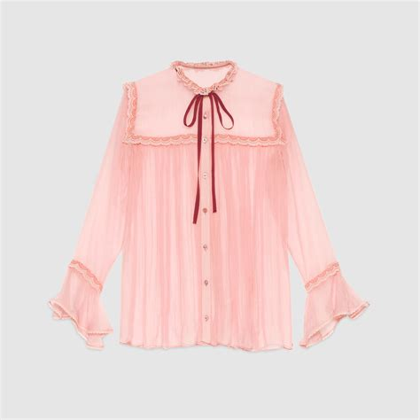 Blouse Merk Jucci 2 lyst gucci chiffon and lace shirt in pink