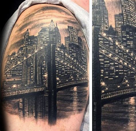 gotham tattoo nyc 60 brooklyn bridge tattoos for men new york city design