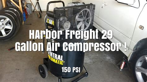 harbor freight 29 gallon air compressor unboxing set up and change item 61489