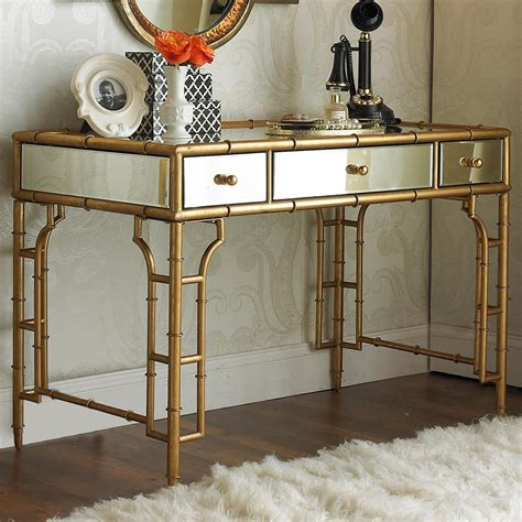 gold and glass desk gold bamboo and mirror vanity desk more mirror glass