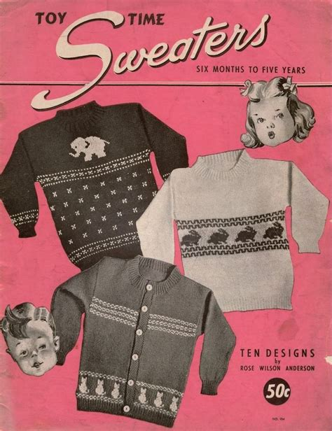 knitting pattern with animals motifs on toy time sweaters vintage knitting patterns children