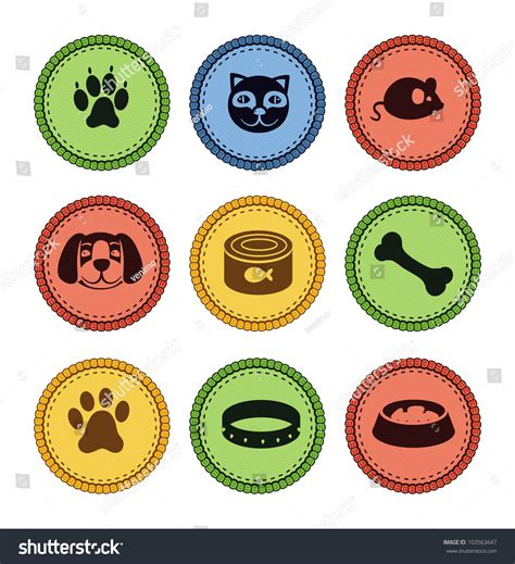 retro style pet icons set vector free download set of cat and dog icons in retro style vector