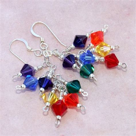 Handmade Beaded Earrings Designs - chakra rainbow handmade earrings swarovski zen beaded