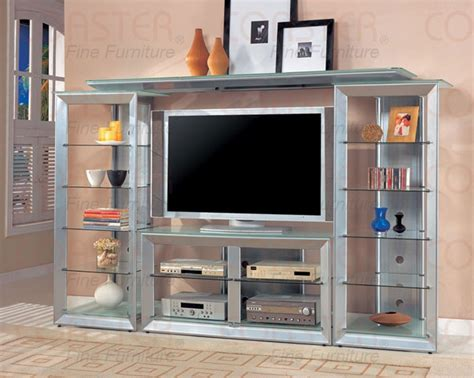 modern style silver finish  piece entertainment center