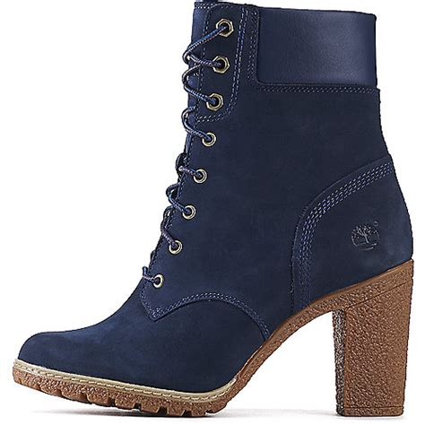 timberland boots for womens high heels timberland glancy 6 in s navy low heel ankle boots