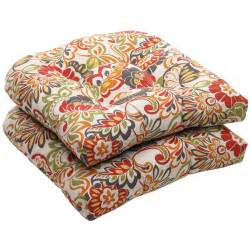 Outdoor Settee Bench Outdoor Multicolored Floral Wicker Seat Cushions Set Of 2