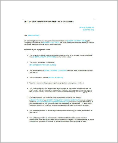 appointment letter format for tax consultant sle business appointment letter 7 exles in pdf word