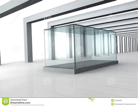 glass room glass showcase in grey room with columns stock photo image 24464520