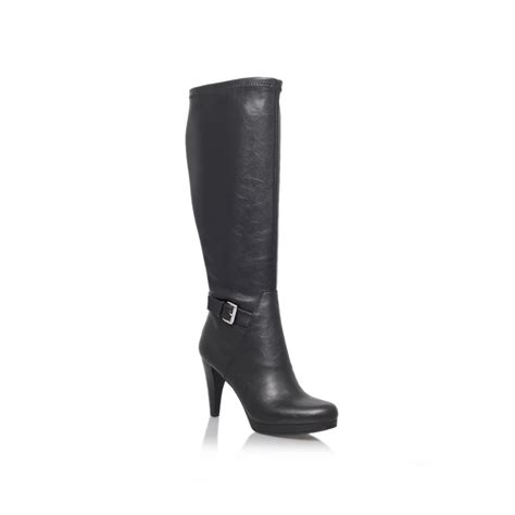 nine west nativa high heeled knee high boots in black lyst