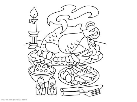 family meal coloring page thanksgiving plate clipart 51