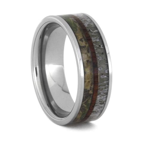 camo wedding band with deer antler and kingwood tungsten ring
