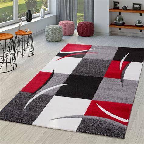 teppich rot schwarz grau teppich wohnzimmer modern palermo mit konturenschnitt in