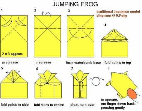 Learn Origami Make A Paper Frog - hopping origami frog search esl