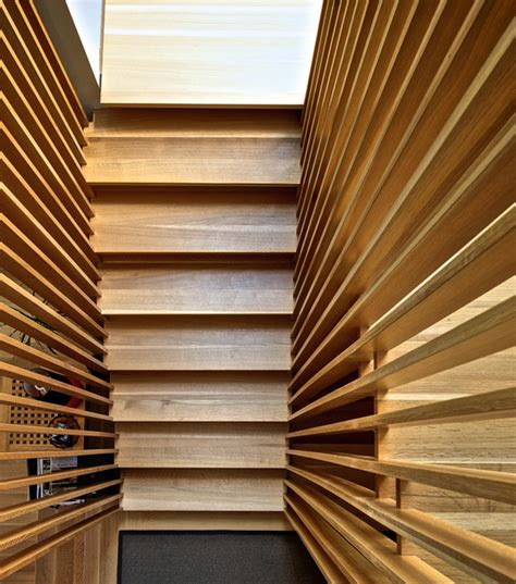 modern wood slat wall stair slats modern staircase toronto by andrew