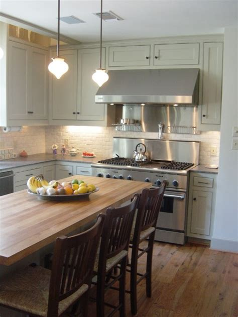 grey green kitchen gray cabinets butcher block top design ideas