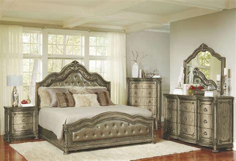 seville bedroom set seville translucent platinum upholstered panel bedroom set
