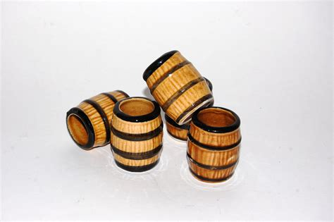 whiskey barrel shot glasses vintage barware brown by