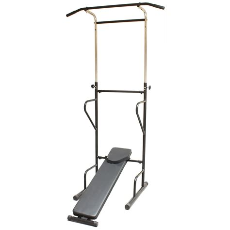 pull up bench fitness power tower dip station sit pull press chin up
