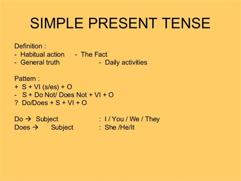 pattern of simple tenses simple present