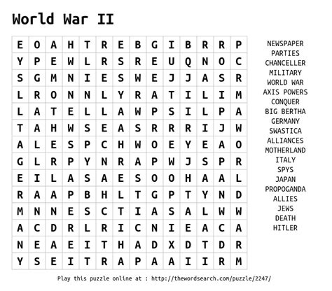 World Search For World War Ii Word Search