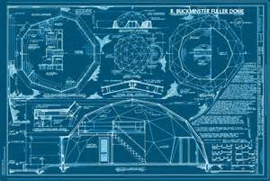 Floor Plan And Elevation Of A House Print Collection Buckminster Fuller Dome Drawings