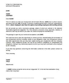 Agreement Letter Model Sle Contract Termination Agreement 8 Exles In