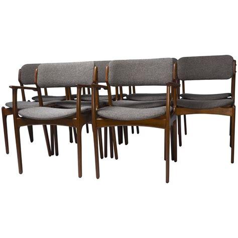 Teak Dining Chairs Upholstered Set Of Ten Upholstered Teak Dining Chairs By Erik Buch At 1stdibs