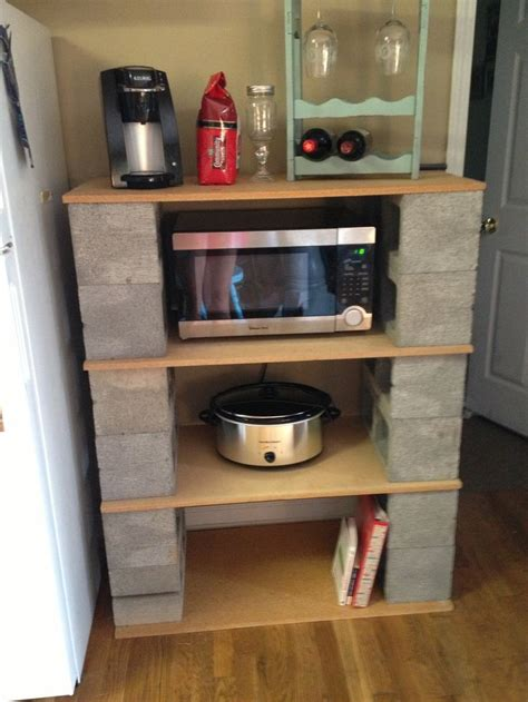 cinder block shelves indoors
