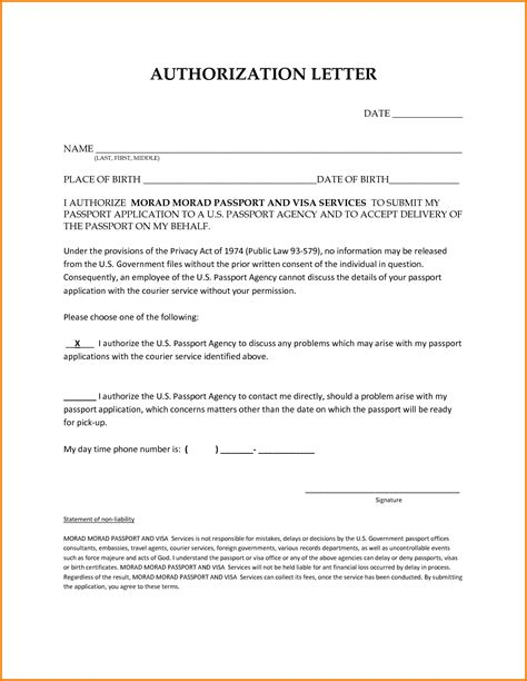 authorization letter to collect passport on my behalf authorization letter behalf authorization letter pdf
