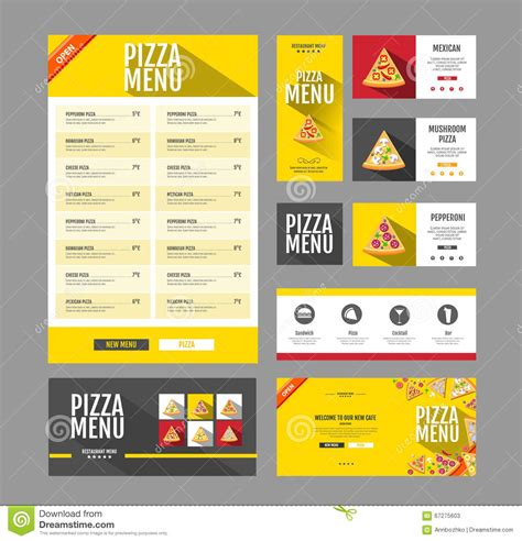 Corporate Menu Card Template by Flat Style Pizza Menu Design Document Template Stock