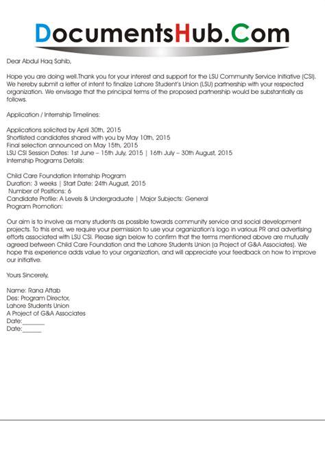 Business Partnership Reference Letter business partnership letter of intent documentshub