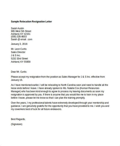 Relocation Resignation Letter Sle by 10 Relocation Resignation Lette Free Word Pdf Document Free Premium Templates