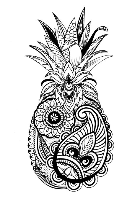 W Drawing Picture by Pineapple Ananas Fruit Pattern Drawing Stygian Gallery