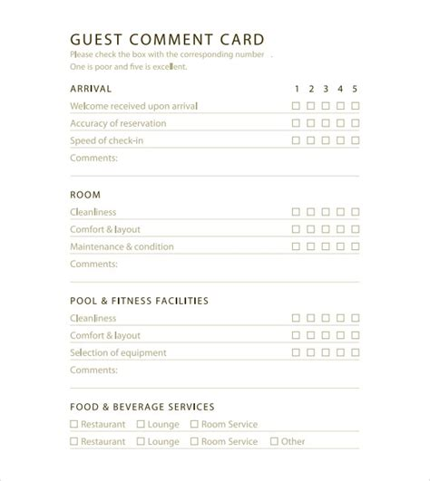 comment card template custome 5 restaurant comment card templates excel xlts