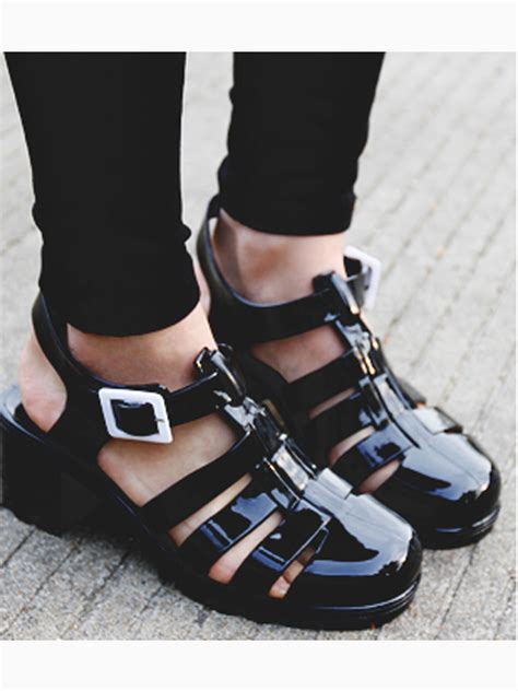black gladiator jelly sandals with block heel choies