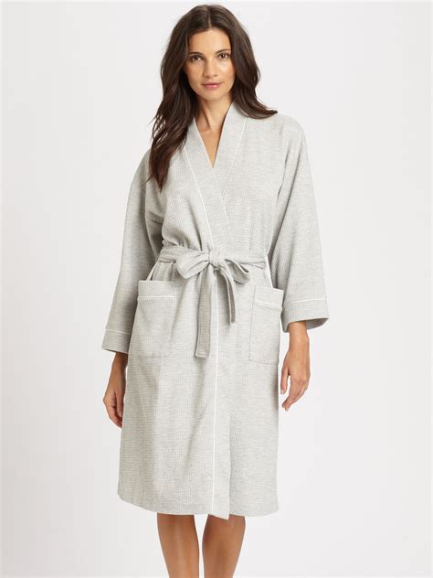 waffle knit robe cottonista waffle knit robe in gray grey lyst