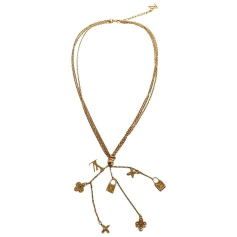 louis vuitton like new gold lv flower charms chain lariat