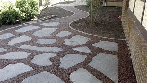 backyard pebble gravel gravel lok pebbles patio and walkway life time pavers
