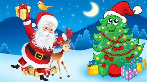 santa claus christmas tree decorations gifts cartoon christmas wallpapers hd