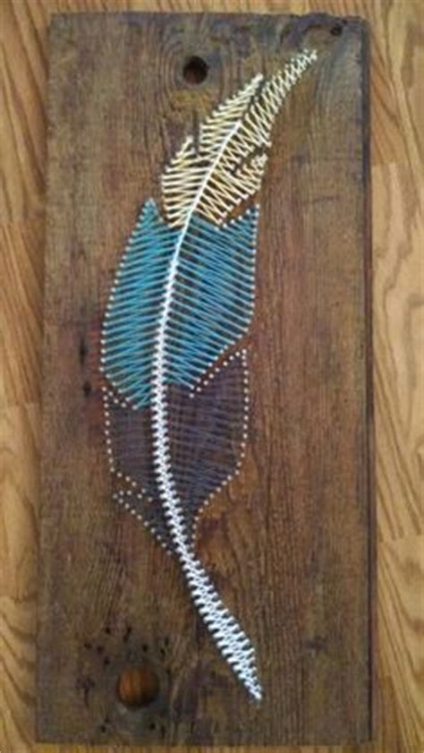 String Feather - free spirit feather string plank board box sign 15