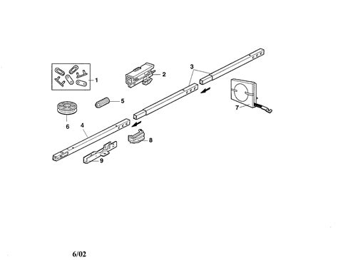 craftsman garage door opener rail assembly parts model