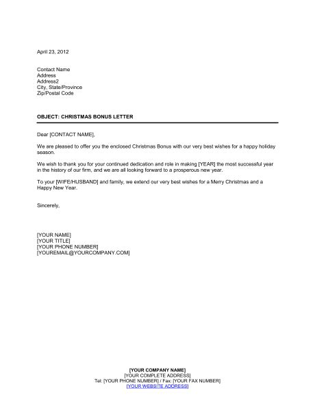 christmas bonus letter template sample form biztreecom