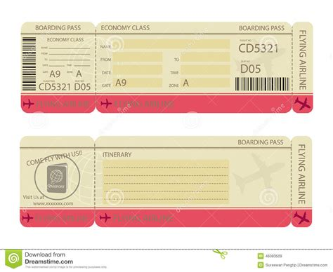 boarding pass design template boarding pass design template stock vector image 46083509